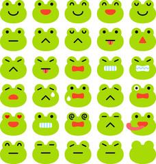 カエルの表情アイコンのセット