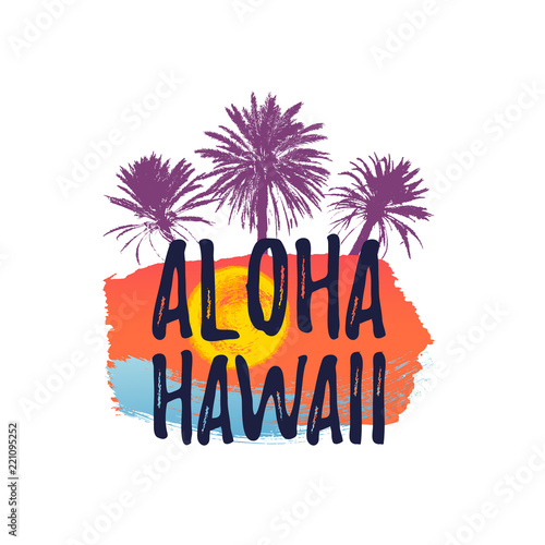 Aloha hawaii greeting banner tropical palm tree on freehand ink aloha hawaii greeting banner tropical palm tree on freehand ink background m4hsunfo