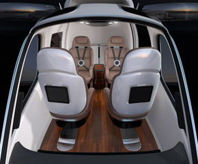 Front view of Passenger Drone interior. Front leather seats turned backward. 3D rendering image.