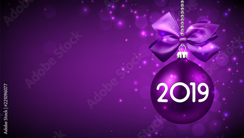 purple 2019 new year background with christmas ball