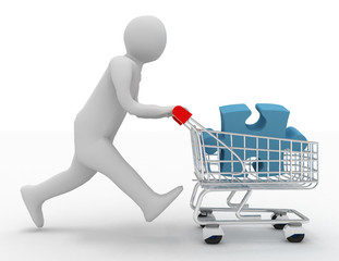 3d person with puzzles in the shopping cart