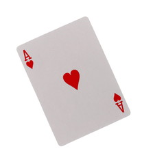 Playing card, ace of hearts isolated on white background with clipping path
