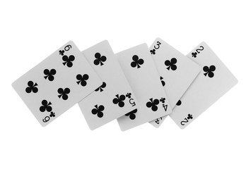 Playing cards, black, isolated on white background with clipping path