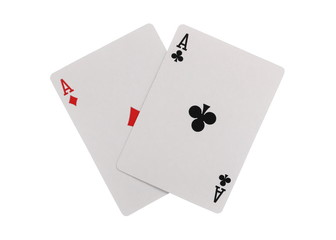 Playing cards, two aces isolated on white background with clipping path