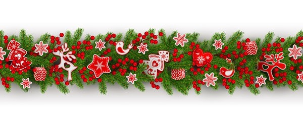border of realistic branches Christmas tree, holly berries, Scandinavian toys