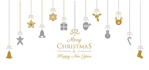 Christmas banner with hanging decorations and wishes. Vector.