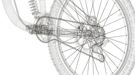 Meccanica bicicletta in wireframe, illustrazione 3d tecnica