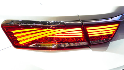 Aluminium Prints Grill / Barbecue Modern Car back light. Cloose up view.