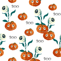 Seamless pattern with orange Halloween pumpkins carved faces and eyed on white background. Can be used for scrapbook digital paper, textile print, page fill. Vector illustration.