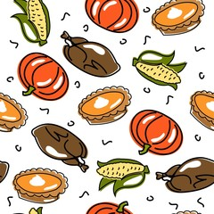 Vector seamless thanksgiving pattern. Food. Happy holiday.