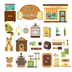 Pet shop decorative icons. Set  icons with parrot, dog and cat and goods for pets. Vector illustration for banner or web page for vet clinic, pet shop or shelter.