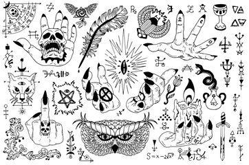 Tattoo design set with gothic icons and mystic symbols on white. Esoteric, occult and Halloween concept with sacred geometry elements, graphic vector illustrations for music album cover, t-shirts