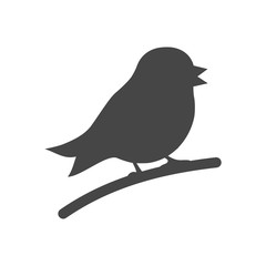 Vector bird silhouette isolated on white