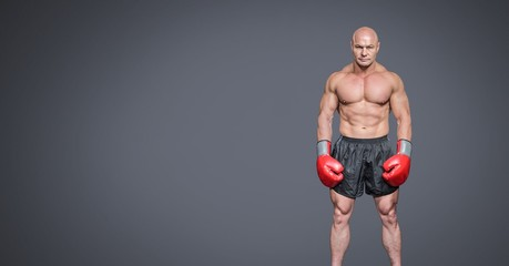 Male boxer with blank grey background