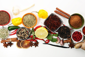 Spices and herbs on table. Food and cuisine ingredients.