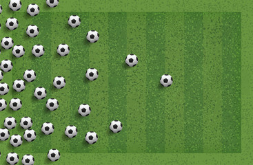 Abstract soccer football ball in green grass field for background. Vector.