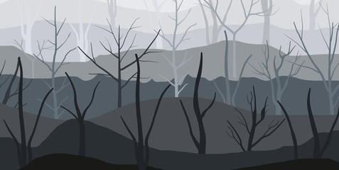 Dark background of forest fog in hill area. Landscape background of dry trees in forest. Vector illustration.