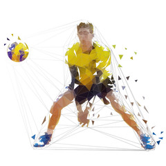 Volleyball player, isolated geometric vector illustration. Low poly team sport athlete