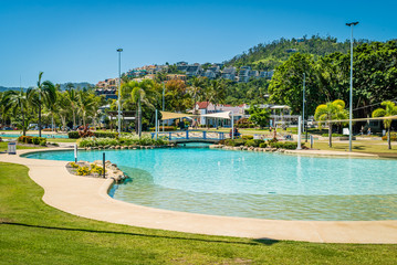 Airlie beach swimming pool lagoon in the summer, Queensland, Australia
