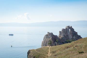 View at Shamanka Rock (Cape Burkhan) from Olkhon island, lake Baikal.