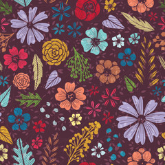 Seamless pattern with fantasy flowers on dark background.