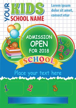 School Admission Flyer, Kid advertising template with space for text, Kid education theme, Colorful vector layout