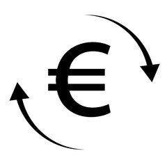 euro money transfer on white background. money convert icon for your web site design, logo, app, UI. flat style. logo money transfers symbol. euro sign.
