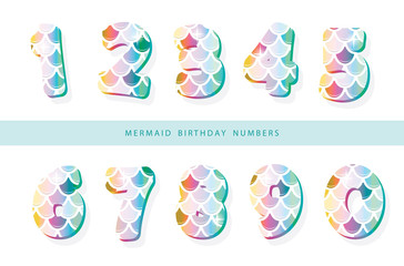 Mermaid scale numbers. For girls birthday design.