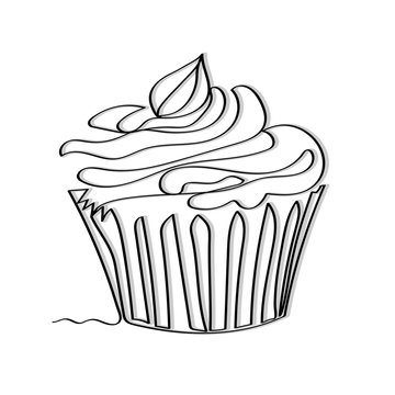 Minimalistic continuous one line drawing of a cupcake in black and grey.