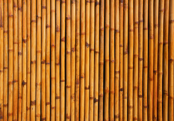 Bamboo mat background close up lines are vertical on a horizontal orientation shot from above,Bamboo fence or wall texture background.