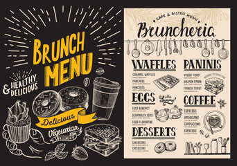 Brunch restaurant menu on blackboard background. Vector food flyer for bar and cafe. Design template with vintage hand-drawn illustrations.