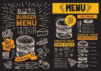 Burger flyer for restaurant. Vector food menu for bar and cafe. Design template with vintage hand-drawn illustrations.