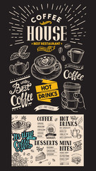 Coffee restaurant menu. Vector drink flyer for bar and cafe. Design template with vintage hand-drawn food illustrations on chalkboard background.
