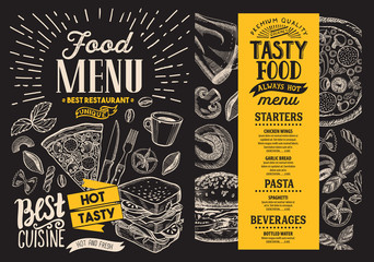 Food menu. Vector restaurant flyer on blackboard background. Design template with vintage hand-drawn illustrations.