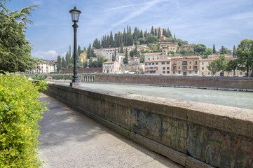 Castel San Pietro view from historic part of Verona city over Adige river