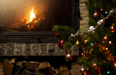 Beautiful decorated fireplace and Christmas tree at cottage