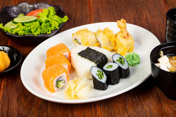 Japanese sushi and roll set
