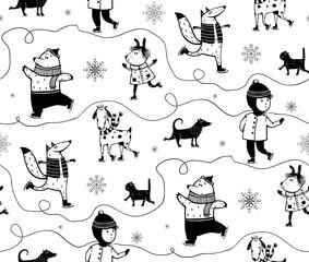 Seamless pattern winter skiing animals background design.