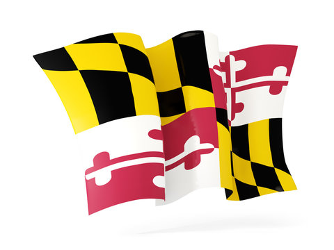 maryland state flag waving icon close up. United states local flags