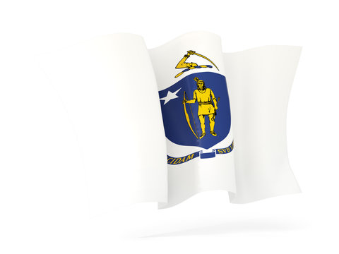 massachusetts state flag waving icon close up. United states local flags