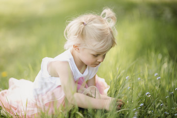 Blond little girl picking flowers on a meadow