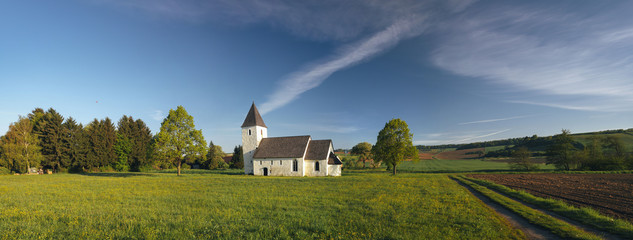 Austria, Lower Austria, Lanzendorf, Panoramic view of Martin's Church Fotoväggar