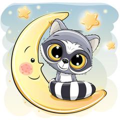 Cute Raccoon is sitting on the moon