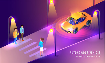 Autonomous Vehicle, Remote Sensing System based web template design with illustration of Smart Car on urban landscape background.