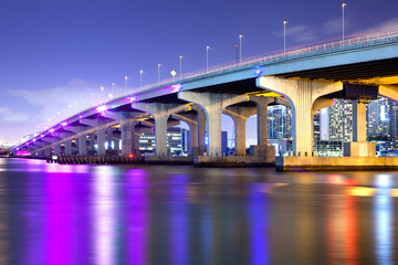 MacArthur Causeway over Biscayne Bay, Miami, Florida, USA