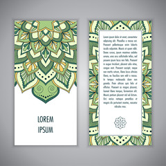 Greeting card or Invitation template with ethnic mandala ornament. Hand drawn vector illustration