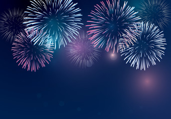 holiday firework vector on twilight background for celebrating events.