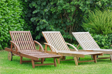 Wooden Relax Lounger in a garden