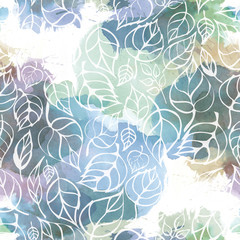 Seamless pattern of contour leaves on abstract watercolor background