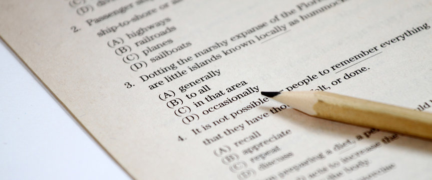 TEST. English test choose the right answer. English grammar test sheet. Multiple choice test. Exam for students in school, college and university. USA or English Education concept. answer sheet.